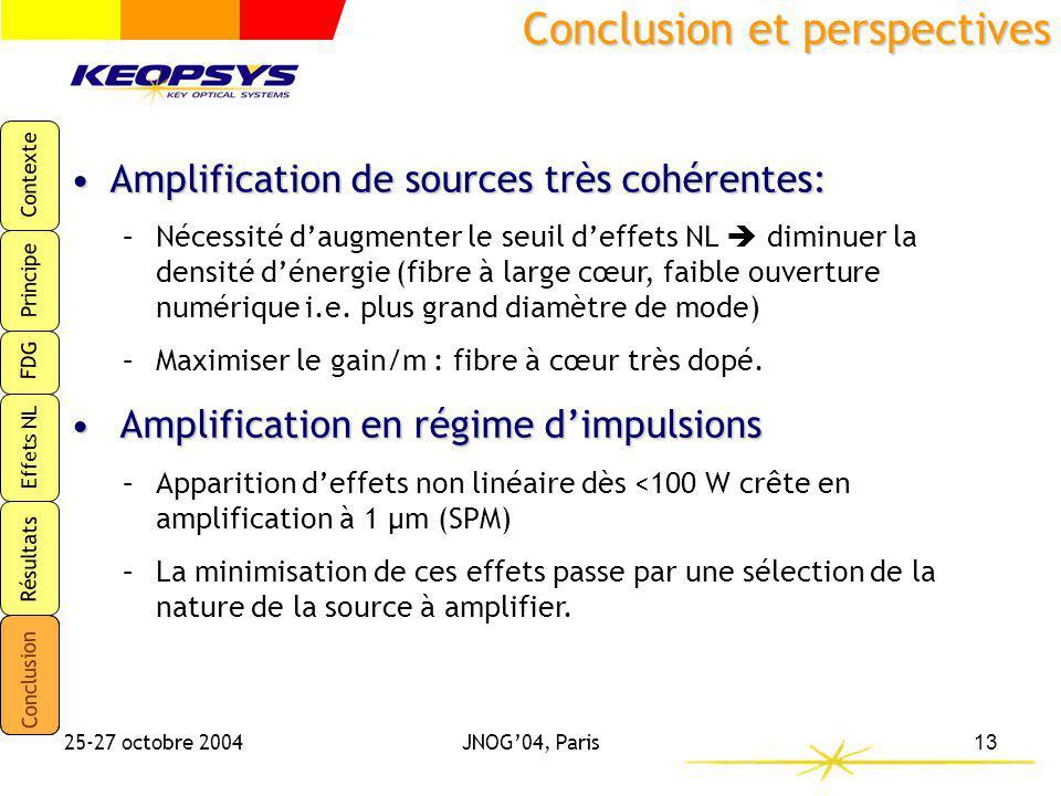 Contexte Principe FDG Effets NL Résultats Conclusion 25-27 octobre 2004JNOG04, Paris13 Conclusion et perspectives Amplification de sources très cohére
