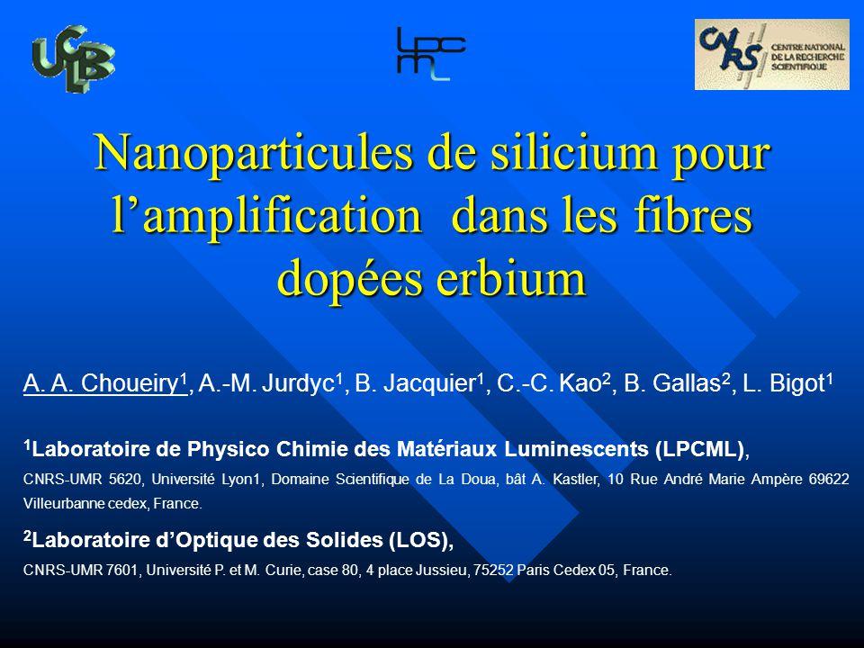 Nanoparticules de silicium pour lamplification dans les fibres dopées erbium A. A. Choueiry 1, A.-M. Jurdyc 1, B. Jacquier 1, C.-C. Kao 2, B. Gallas 2