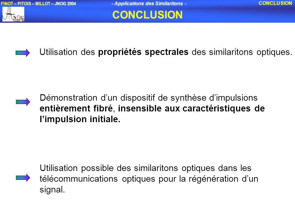 - Applications des Similaritons - FINOT – PITOIS – MILLOT – JNOG 2004 Utilisation possible des similaritons optiques dans les télécommunications optiques pour la régénération dun signal.