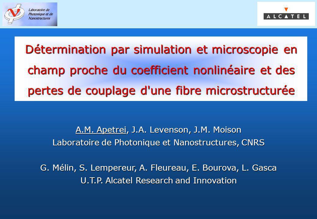 Groupe PHOTONIQ Détermination par simulation et microscopie en champ proche du coefficient nonlinéaire et des pertes de couplage d'une fibre microstru