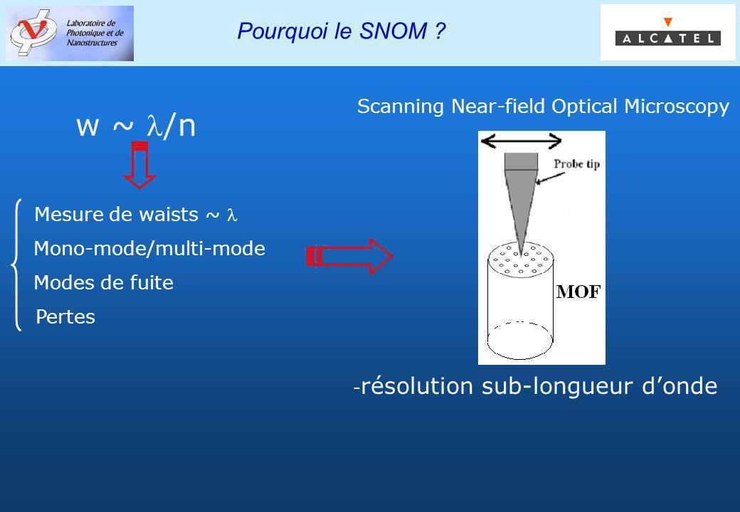 Groupe PHOTONIQ Pourquoi le SNOM ? Mesure de waists ~ Mono-mode/multi-mode Modes de fuite Pertes w ~ /n - résolution sub-longueur donde Scanning Near-