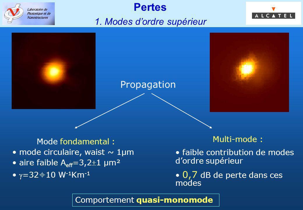 Groupe PHOTONIQ Pertes 1. Modes dordre supérieur Propagation Mode fondamental : mode circulaire, waist ~ 1µm aire faible A eff =3,21 µm² =32 10 W -1 K