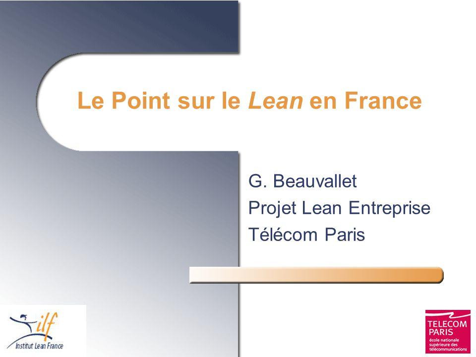 Le Point sur le Lean en France G. Beauvallet Projet Lean Entreprise Télécom Paris