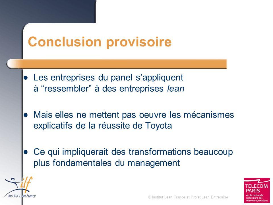 © Institut Lean France et Projet Lean Entreprise Conclusion provisoire Les entreprises du panel sappliquent à ressembler à des entreprises lean Mais e