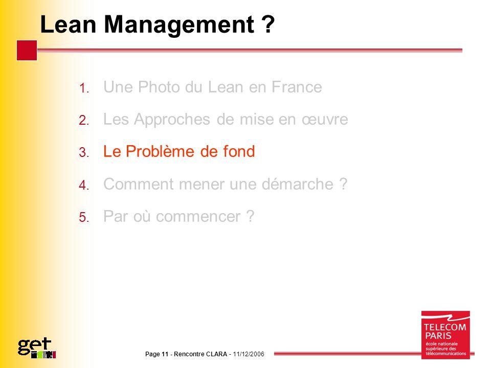 Page 11 - Rencontre CLARA - 11/12/2006 Lean Management ? 1. Une Photo du Lean en France 2. Les Approches de mise en œuvre 3. Le Problème de fond 4. Co