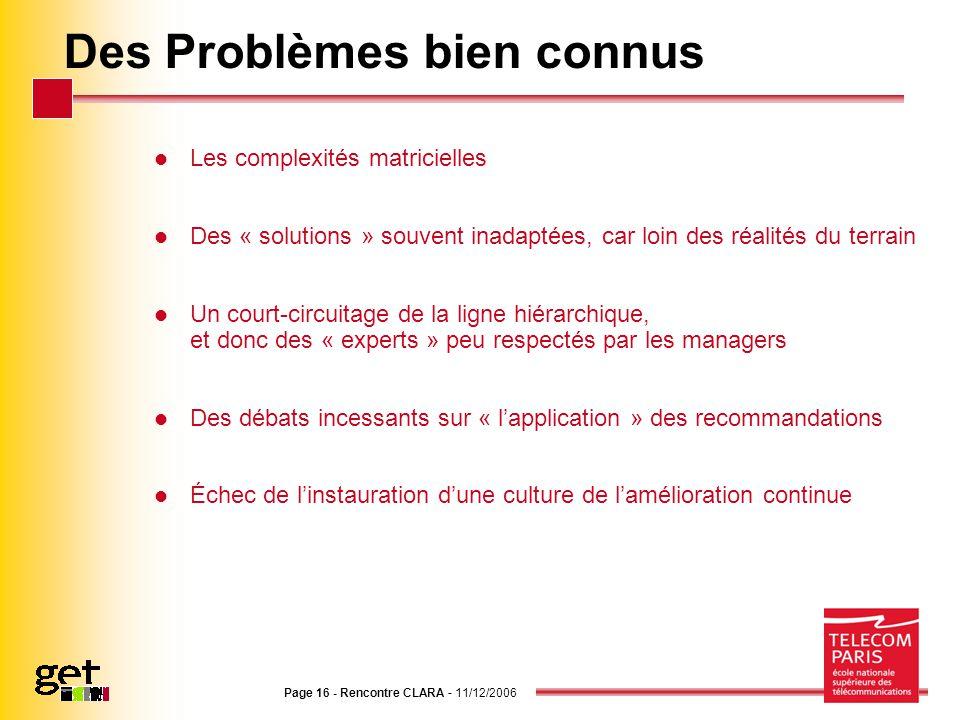 Page 16 - Rencontre CLARA - 11/12/2006 Des Problèmes bien connus Les complexités matricielles Des « solutions » souvent inadaptées, car loin des réali