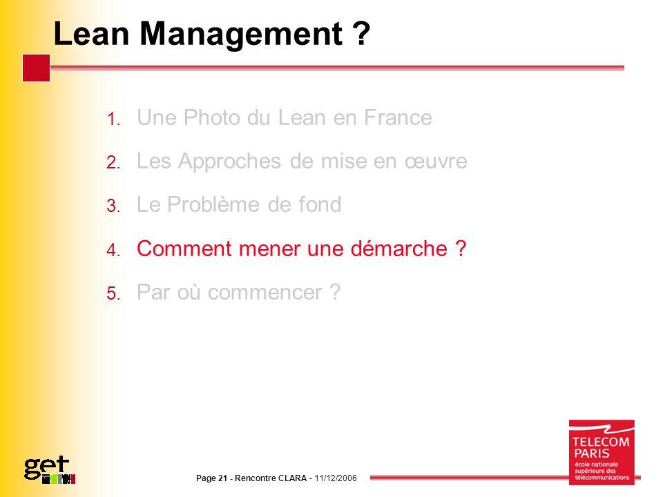 Page 21 - Rencontre CLARA - 11/12/2006 Lean Management ? 1. Une Photo du Lean en France 2. Les Approches de mise en œuvre 3. Le Problème de fond 4. Co