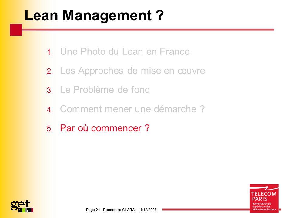 Page 24 - Rencontre CLARA - 11/12/2006 Lean Management ? 1. Une Photo du Lean en France 2. Les Approches de mise en œuvre 3. Le Problème de fond 4. Co