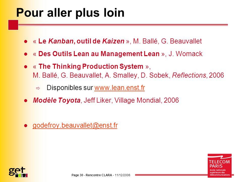 Page 30 - Rencontre CLARA - 11/12/2006 Pour aller plus loin « Le Kanban, outil de Kaizen », M. Ballé, G. Beauvallet « Des Outils Lean au Management Le