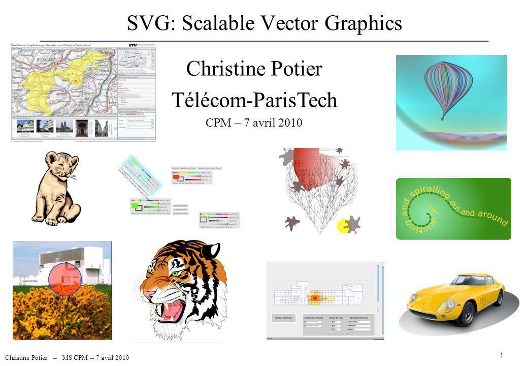 Christine Potier -- MS CPM -- 7 avril 2010 32 SVG et Ajax BD - GIS Back-office Scripts php génération de XML Au chargement Requête Clic souris Front-office : SVG + Ajax Au clic XML
