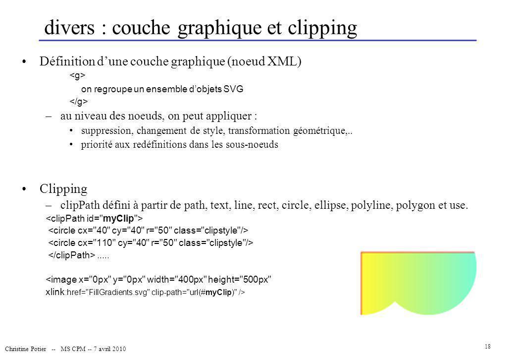 Christine Potier -- MS CPM -- 7 avril 2010 18 divers : couche graphique et clipping Définition dune couche graphique (noeud XML) on regroupe un ensemb