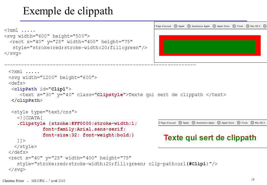 Christine Potier -- MS CPM -- 7 avril 2010 19 Exemple de clippath <?xml..... <rect x=