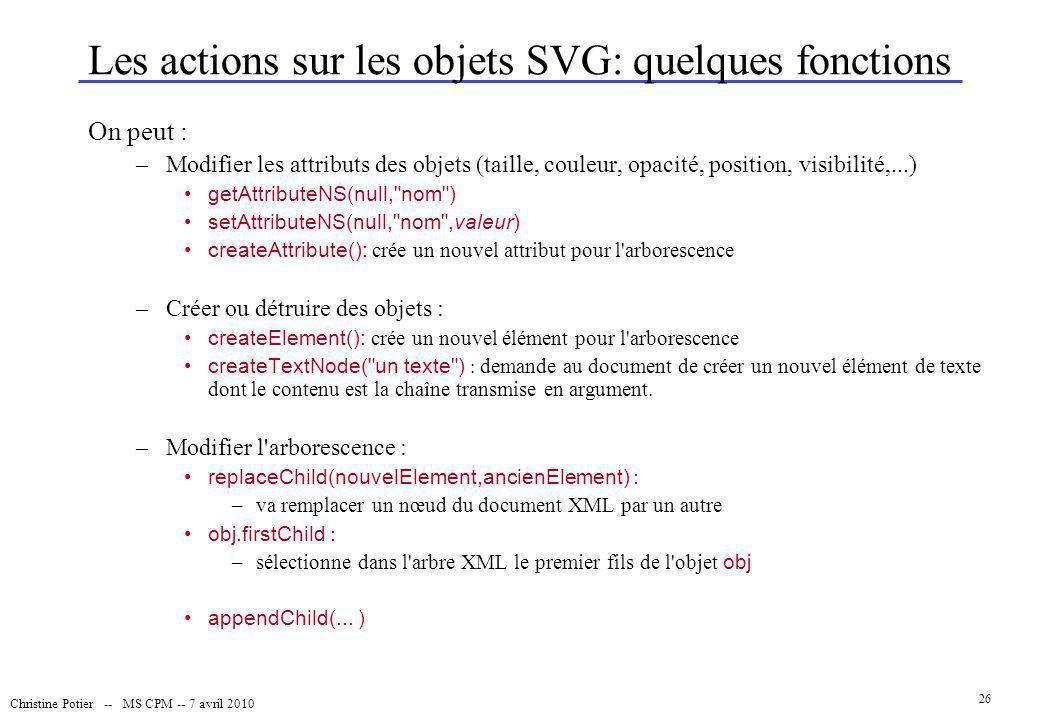 Christine Potier -- MS CPM -- 7 avril 2010 26 Les actions sur les objets SVG: quelques fonctions On peut : –Modifier les attributs des objets (taille,