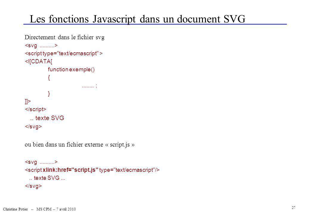 Christine Potier -- MS CPM -- 7 avril 2010 27 Les fonctions Javascript dans un document SVG Directement dans le fichier svg <![CDATA[ function exemple