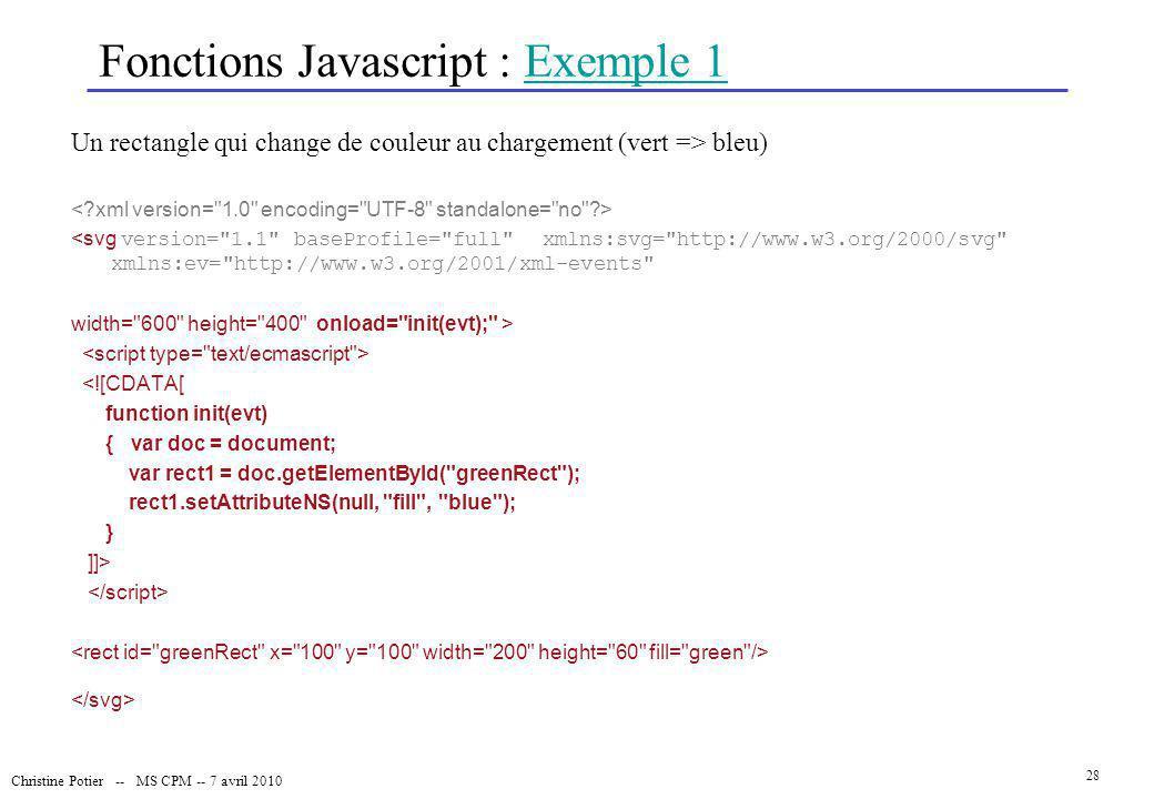 Christine Potier -- MS CPM -- 7 avril 2010 28 Fonctions Javascript : Exemple 1Exemple 1 Un rectangle qui change de couleur au chargement (vert => bleu
