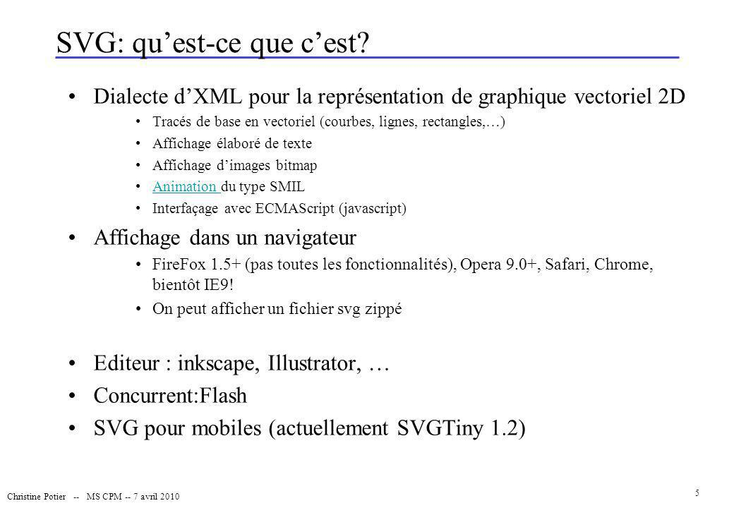 Christine Potier -- MS CPM -- 7 avril 2010 26 Les actions sur les objets SVG: quelques fonctions On peut : –Modifier les attributs des objets (taille, couleur, opacité, position, visibilité,...) getAttributeNS(null, nom ) setAttributeNS(null, nom ,valeur) createAttribute(): crée un nouvel attribut pour l arborescence –Créer ou détruire des objets : createElement(): crée un nouvel élément pour l arborescence createTextNode( un texte ) : demande au document de créer un nouvel élément de texte dont le contenu est la chaîne transmise en argument.