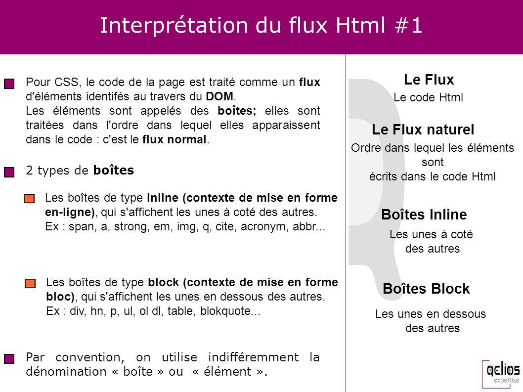 Interprétation du flux Html #1 2 types de boîtes Les boîtes de type inline (contexte de mise en forme en-ligne), qui s'affichent les unes à coté des a