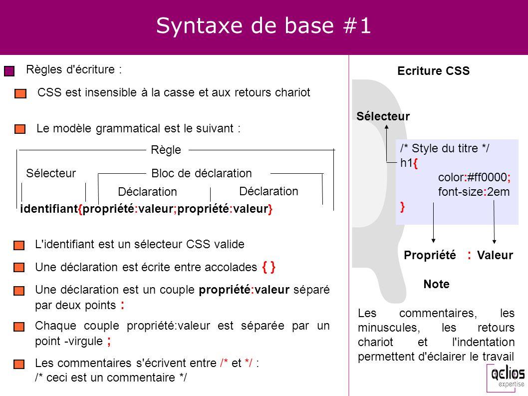 Syntaxe de base #1 Règles d'écriture : CSS est insensible à la casse et aux retours chariot Le modèle grammatical est le suivant : /* Style du titre *