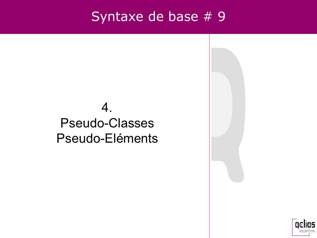 Syntaxe de base # 9 4. Pseudo-Classes Pseudo-Eléments