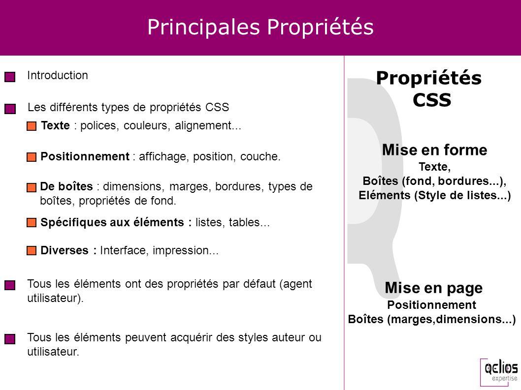 Principales Propriétés Introduction Les différents types de propriétés CSS Tous les éléments ont des propriétés par défaut (agent utilisateur). Tous l