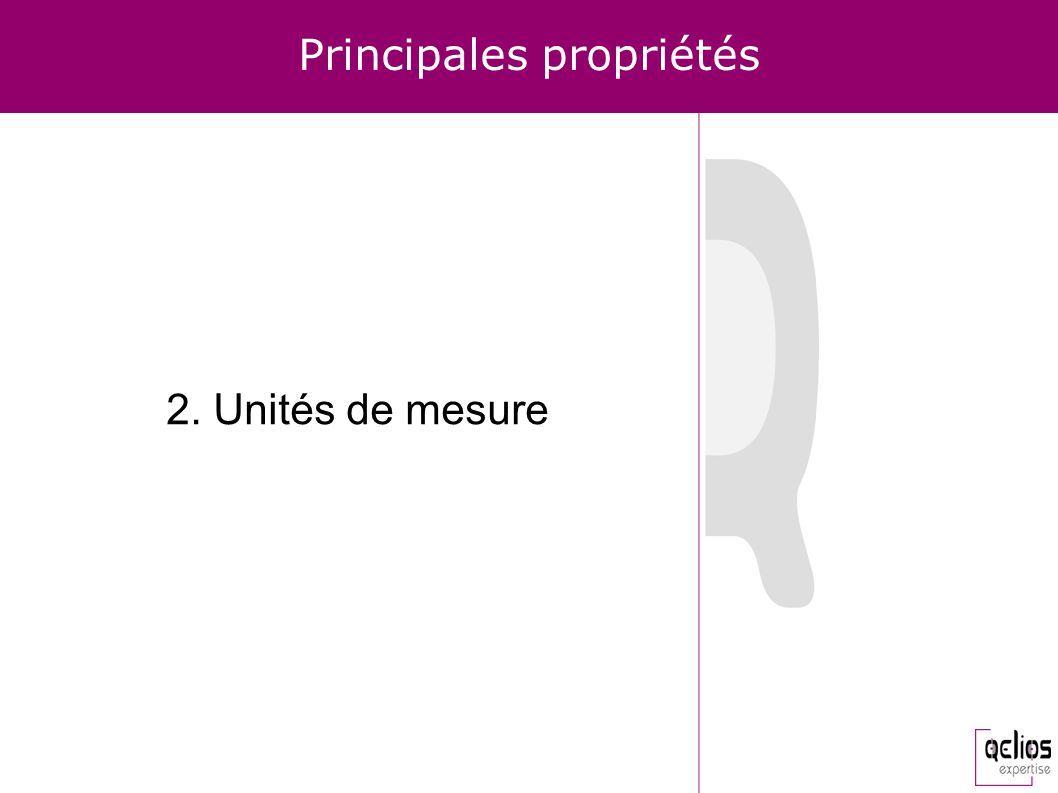 Principales propriétés 2. Unités de mesure