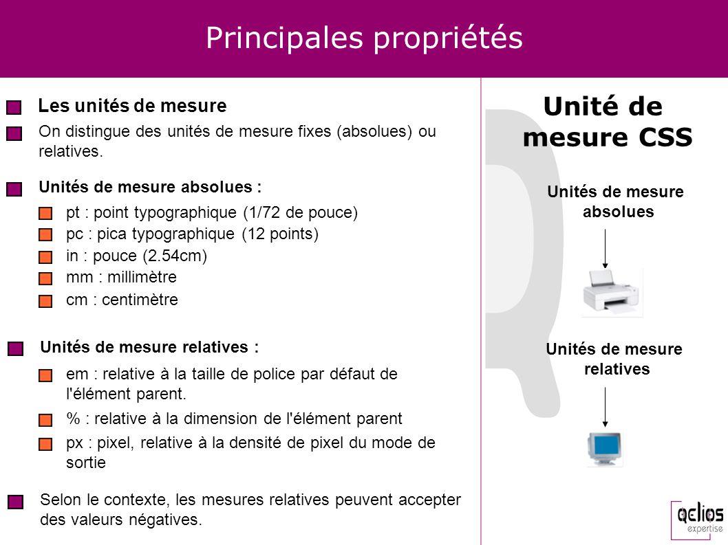 Principales propriétés Les unités de mesure Unité de mesure CSS On distingue des unités de mesure fixes (absolues) ou relatives. Unités de mesure abso