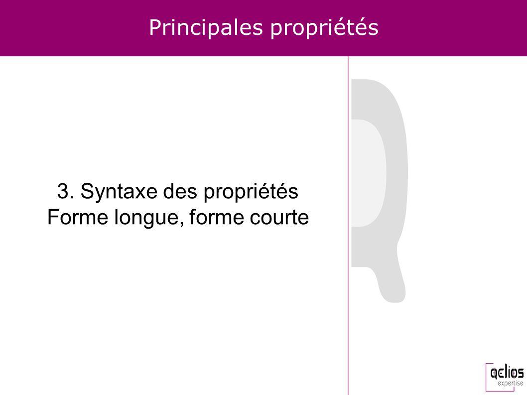 Principales propriétés 3. Syntaxe des propriétés Forme longue, forme courte