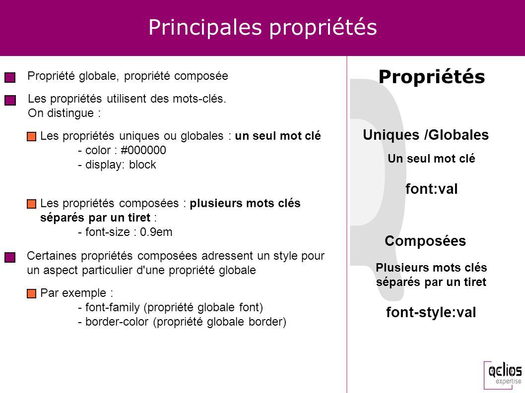 Principales propriétés Propriété globale, propriété composée Propriétés Les propriétés utilisent des mots-clés. On distingue : Les propriétés uniques