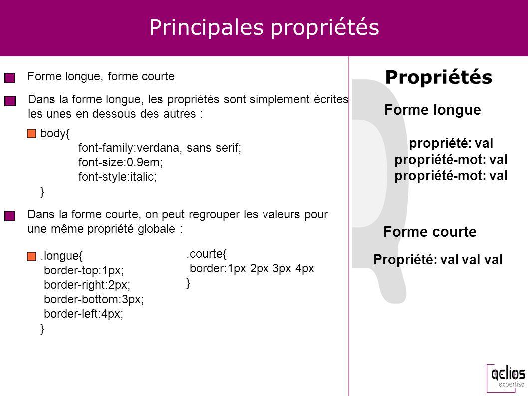 Principales propriétés Forme longue, forme courte Propriétés Dans la forme longue, les propriétés sont simplement écrites les unes en dessous des autr