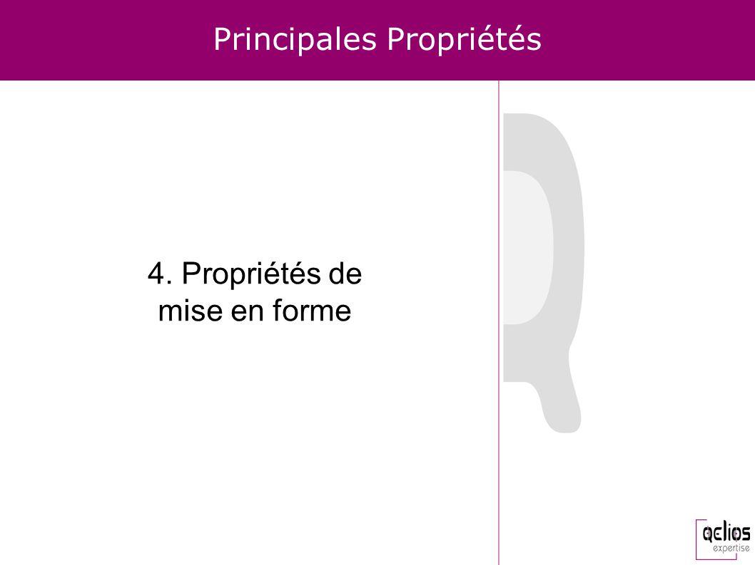 Principales Propriétés 4. Propriétés de mise en forme