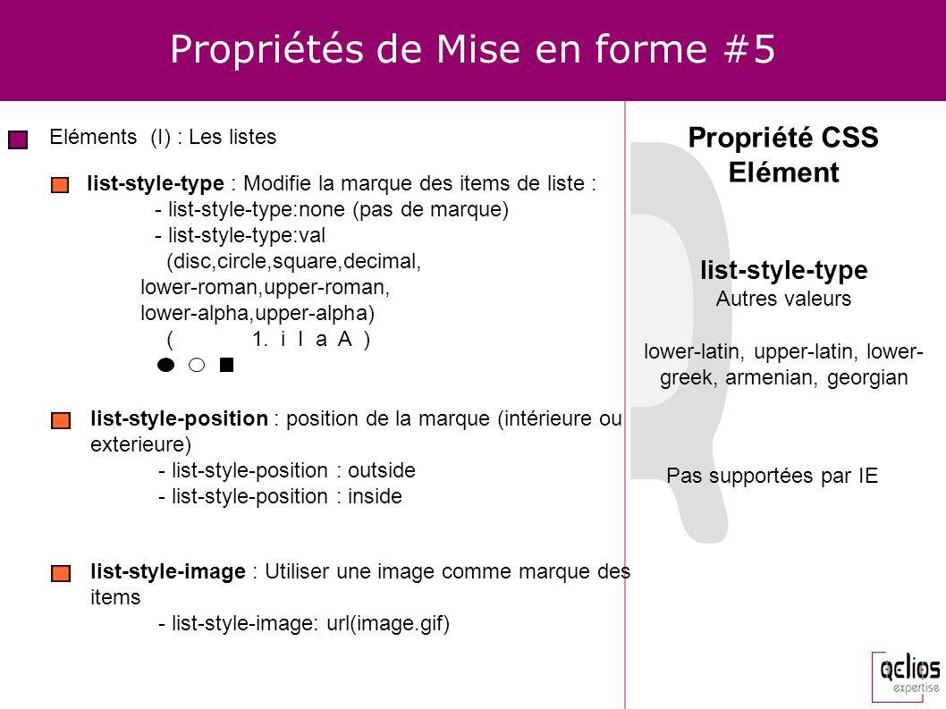 Propriétés de Mise en forme #5 Eléments (I) : Les listes Propriété CSS Elément list-style-type : Modifie la marque des items de liste : - list-style-t