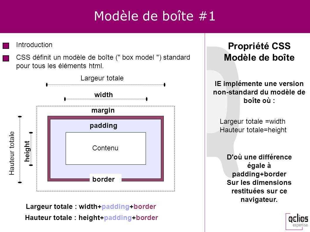 Modèle de boîte #1 Introduction Propriété CSS Modèle de boîte CSS définit un modèle de boîte (