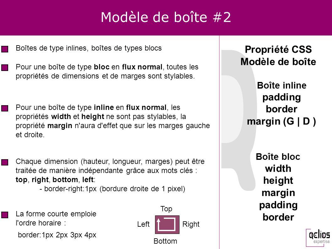 Modèle de boîte #2 Boîtes de type inlines, boîtes de types blocs Propriété CSS Modèle de boîte Pour une boîte de type bloc en flux normal, toutes les