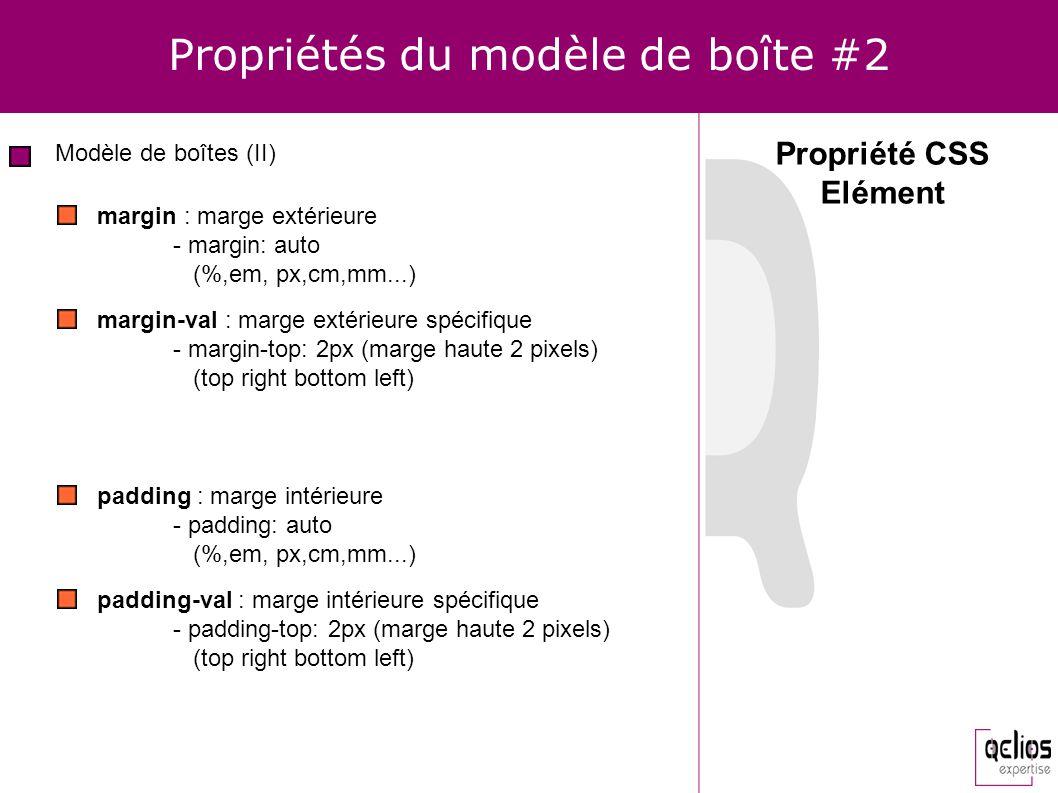 Propriétés du modèle de boîte #2 Modèle de boîtes (II) Propriété CSS Elément margin : marge extérieure - margin: auto (%,em, px,cm,mm...) margin-val :