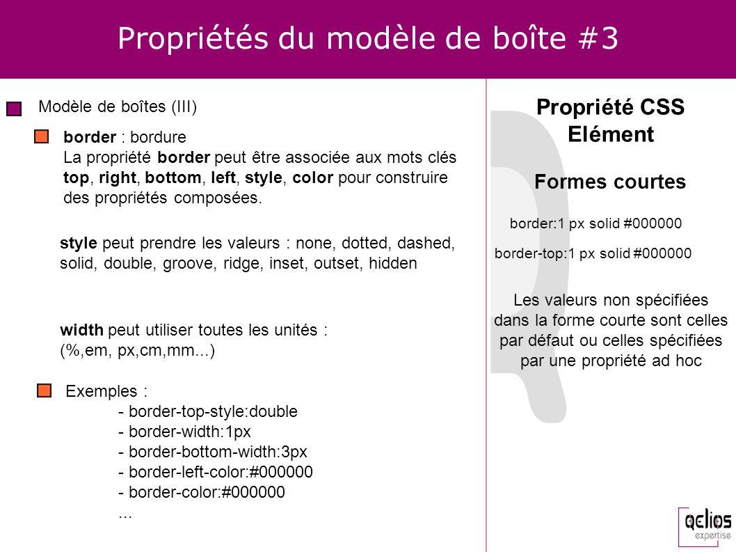 Propriétés du modèle de boîte #3 Modèle de boîtes (III) Propriété CSS Elément border : bordure La propriété border peut être associée aux mots clés to
