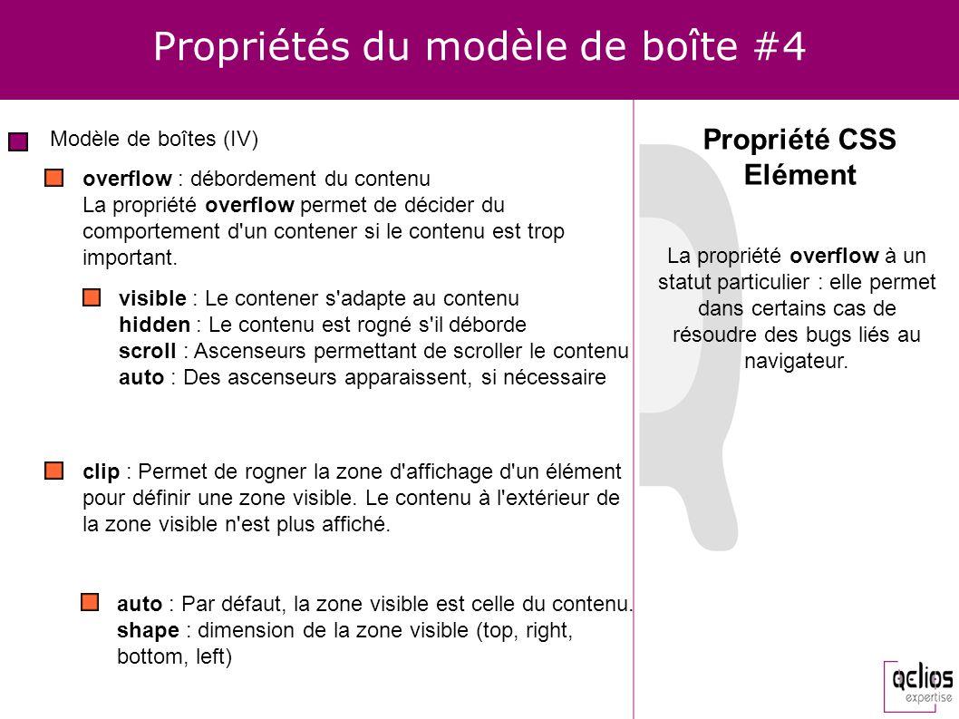 Propriétés du modèle de boîte #4 Modèle de boîtes (IV) Propriété CSS Elément overflow : débordement du contenu La propriété overflow permet de décider