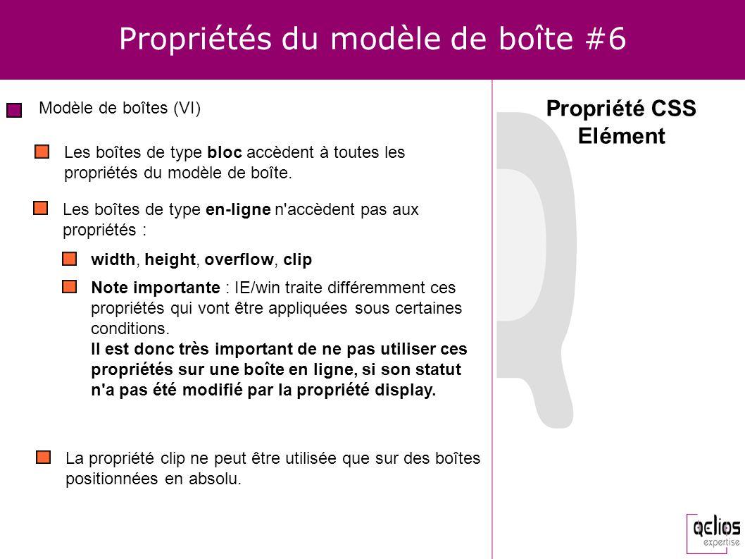 Propriétés du modèle de boîte #6 Modèle de boîtes (VI) Propriété CSS Elément Les boîtes de type bloc accèdent à toutes les propriétés du modèle de boî