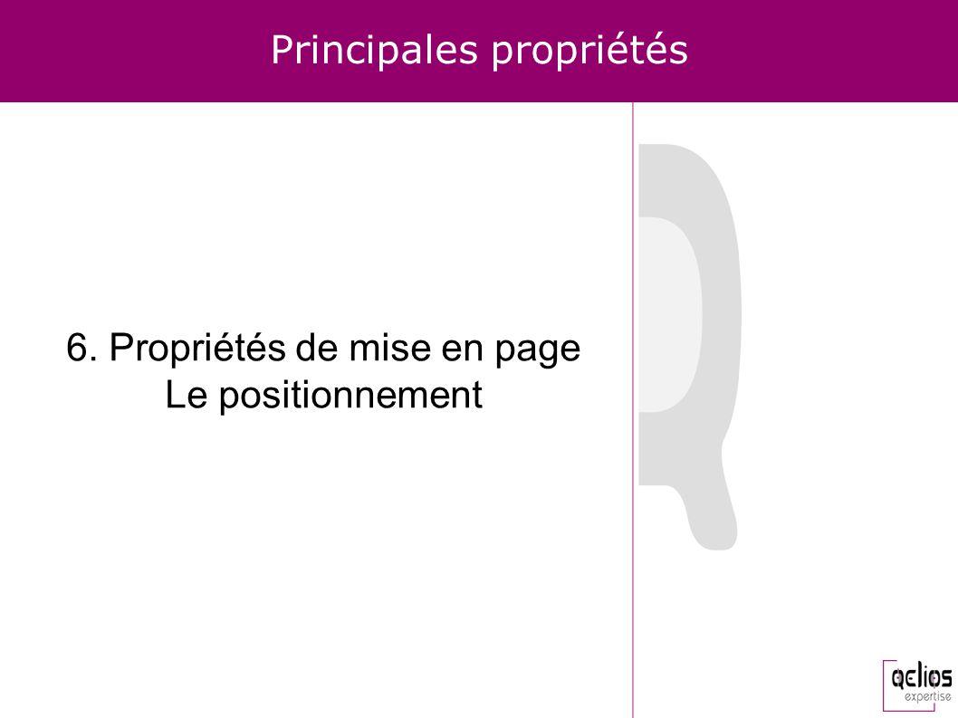 Principales propriétés 6. Propriétés de mise en page Le positionnement