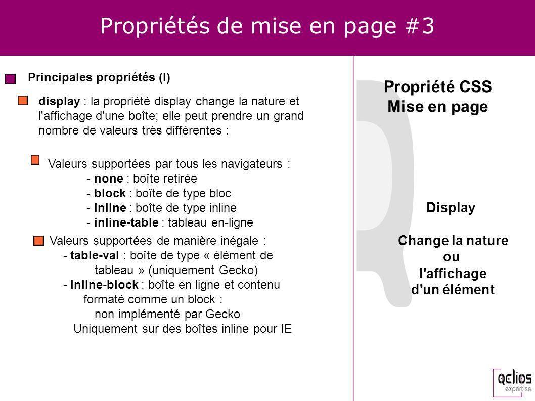Propriétés de mise en page #3 Principales propriétés (I) display : la propriété display change la nature et l'affichage d'une boîte; elle peut prendre