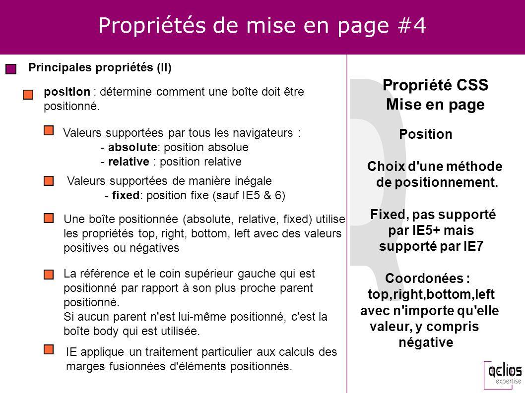Propriétés de mise en page #4 Principales propriétés (II) position : détermine comment une boîte doit être positionné. Valeurs supportées par tous les