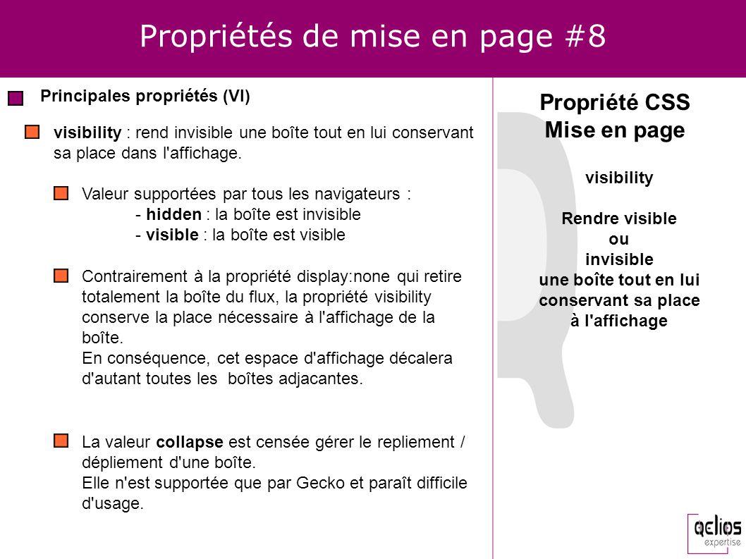 Propriétés de mise en page #8 Principales propriétés (VI) Propriété CSS Mise en page visibility : rend invisible une boîte tout en lui conservant sa p