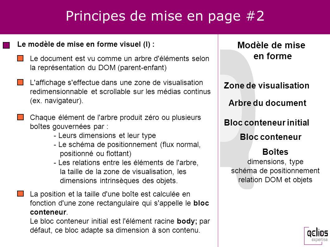 Principes de mise en page #2 Le modèle de mise en forme visuel (I) : Le document est vu comme un arbre d'éléments selon la représentation du DOM (pare