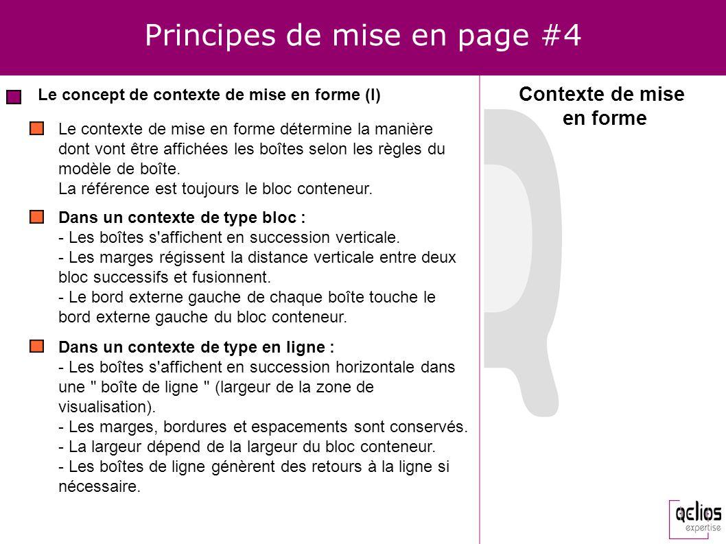 Principes de mise en page #4 Le concept de contexte de mise en forme (I) Dans un contexte de type bloc : - Les boîtes s'affichent en succession vertic