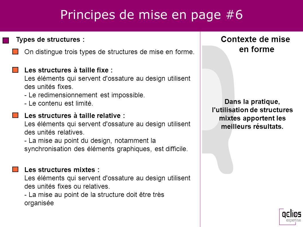 Principes de mise en page #6 Types de structures : Contexte de mise en forme On distingue trois types de structures de mise en forme. Les structures à