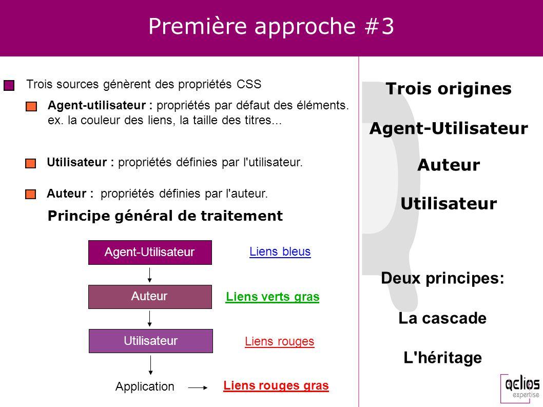 Première approche #3 Trois sources génèrent des propriétés CSS Agent-utilisateur : propriétés par défaut des éléments. ex. la couleur des liens, la ta