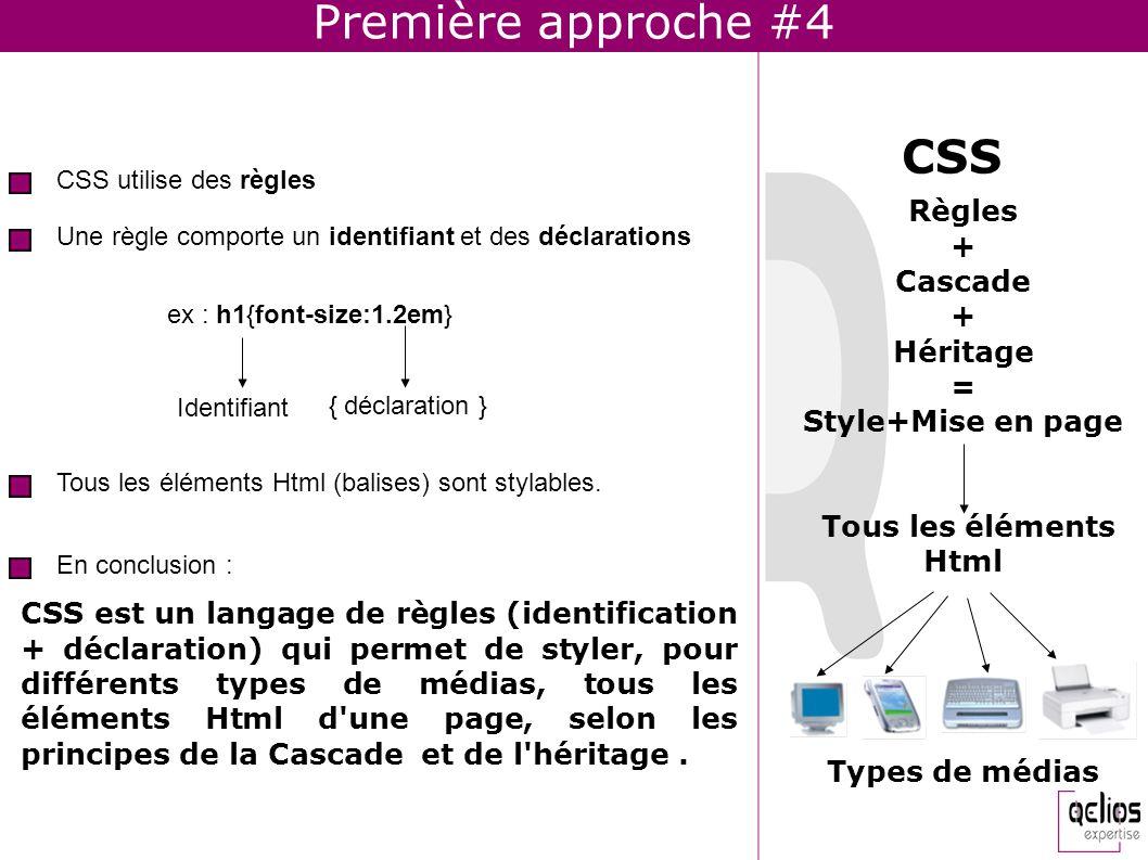 Première approche #4 CSS est un langage de règles (identification + déclaration) qui permet de styler, pour différents types de médias, tous les éléme