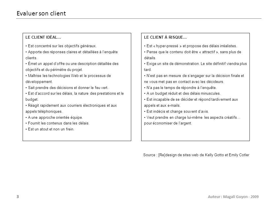 44 Auteur : Magali Guyon - 2009 Planning simple 18-juin25-juin02-juil09-juil16-juil23-juil30-juil06-août13-août20-août27-août Planning du site [nom du projet] S1S2S3S4S5S6S7S8S9S10S11 Conception Design Installation et réglages SPIP + production Développement HTML/CSS Préparation des contenus Intégration des contenus Livraison et tests finaux Recette et mise en ligne Formation