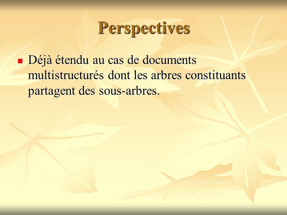 Perspectives Déjà étendu au cas de documents multistructurés dont les arbres constituants partagent des sous-arbres.