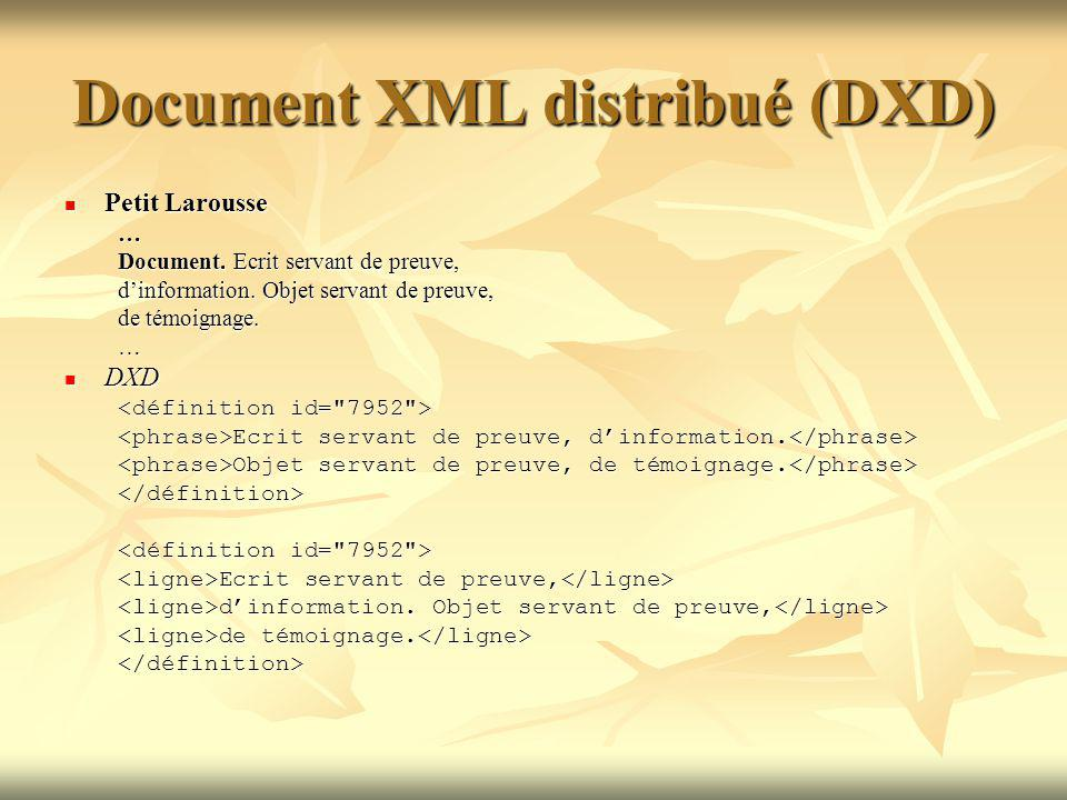 Document XML distribué (DXD) Petit Larousse Petit Larousse… Document.