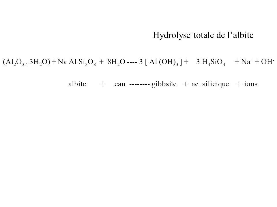 Hydrolyse totale de lalbite (Al 2 O 3, 3H 2 O) + Na Al Si 3 O 8 + 8H 2 O ---- 3 [ Al (OH) 3 ] + 3 H 4 SiO 4 + Na + + OH - albite + eau -------- gibbsi